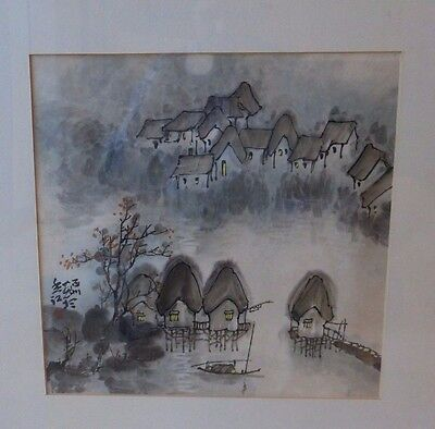 Antique Chinese Artist's Sign & Red Seal Framed Watercolor Painting - Rare!