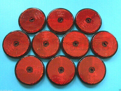 10 x Red Rear Screw on 60mm Round Reflectors - Trailers & Horse Box