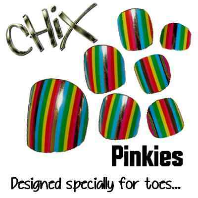 CHIX Nail Wraps NEW PINKIES Rainbow Stripes JUST 4 TOES Foils Nails Salon toe