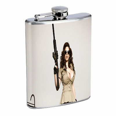 Assault Rifle Image Flask D6 8oz Stainless Steel Gun Automatic Weapon AK 47 M16
