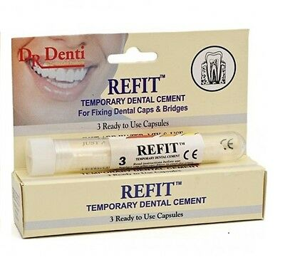 Dr Denti REFIT Temporary Dental Cement - 3 Ready To Use Capsules(Caps & Bridges)