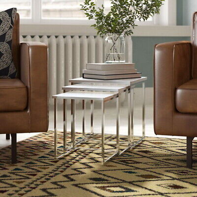 Murano Nesting,Coffee,Side Table with White Gloss Wooden Tops/Chrome Legs-WNT02W