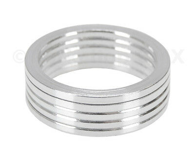 """Bicycle MINI BMX ROAD MTB headset spacers 1"""" threadless (SET of 5) 2mm - SILVER"""