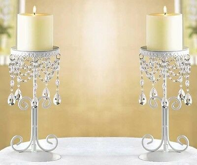 Set of 2 White Wrought Iron Beaded Candleholders