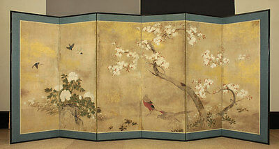 Japanese 15~16th c Handpainted Folding Screen