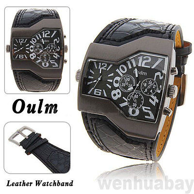 OULM Military Army Two Time Zones Movements Sports Leather Watch Boys Mens Gift