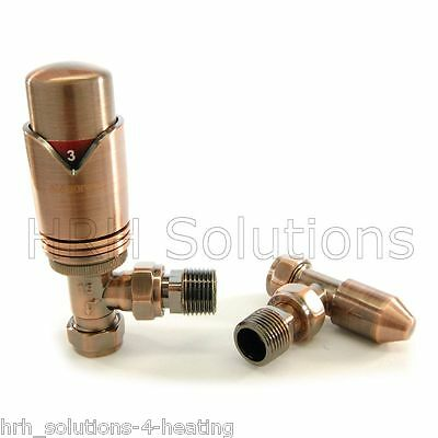 Elegance Wave Antique Copper Thermostatic Radiator Valve Set 15mm X 1/2""