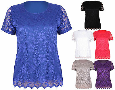 Womens New Short Sleeve Ladies Stretch Floral Lace Blouse T-Shirt Top Plus Size