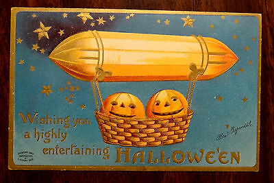 JACK-O-LANTERNS IN ZEPPELIN Artist Clapsaddle HALLOWEEN fantasy AD Postcard 1909