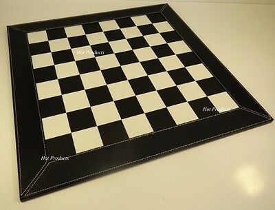 "LARGE 21"" CHESS BOARD WHITE & BLACK FAUX LEATHER NEW"