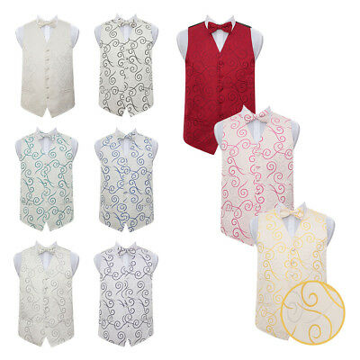 DQT Premium Scroll Patterned Vest Wedding Men's / Boys Waistcoat & Bow Tie Set
