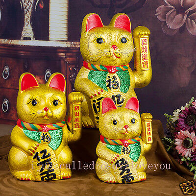 "7""(18 cm) Ceramics Maneki Neko Lucky Beckoning Waving Wealth Gold Cat FengShui"