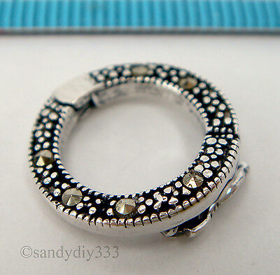 1x STERLING SILVER MARCASITE PEARL SHORTENER ENHANCER CLASP CONNECTOR #2239