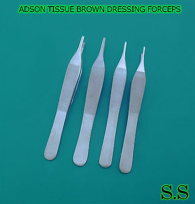 "Set Of 4 Assorted Adson Tissue Brown Dressing Forceps 4.75"" Surgical Instruments"