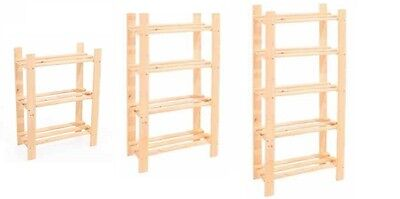 3, 4 & 5 Tier Solid Wooden Storage Shelf Shelving Unit Bookcase Garage Shelving