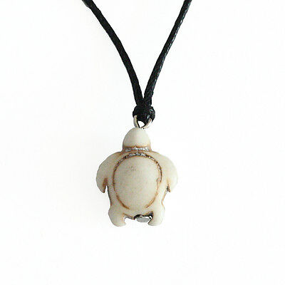 Turquoise White Turtle Charm Pendant Choker Necklace with Black Cord