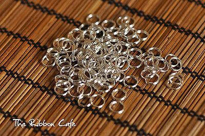 Split rings 8mm diameter silver plated 50 pieces