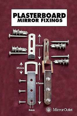 Heavy Duty Mirror Fixings + Hooks for the Wall Straps + Plasterboard Fittings