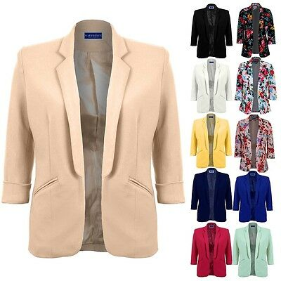 Women's Open Front 3/4 Turned Up Sleeve Ladies Floral Print Smart Blazer Jacket