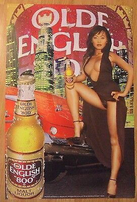 Sexy Girl Beer Poster Olde English OE800 ~ Busty Asian Big City & Vintage Car