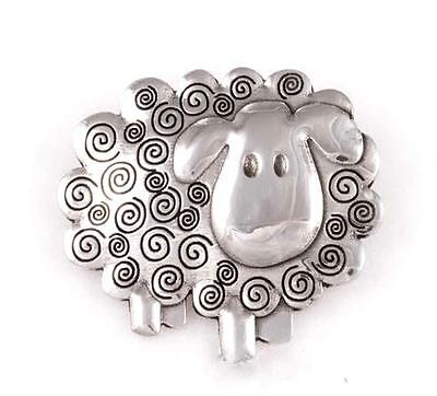 New St Justin Pewter Cute Swirly Sheep Brooch PB189 Made in UK