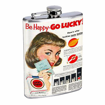 Lucky Strike Flask D9 8oz Stainless Steel Vintage Cigarette Ad Sign Classic Logo