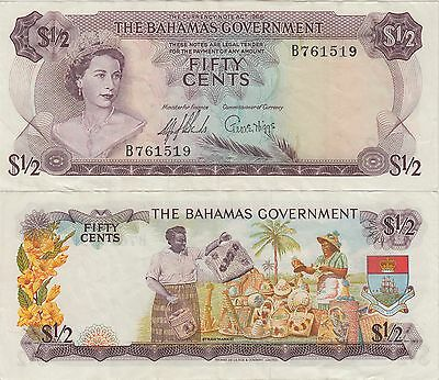 Bahamas Fifty Cents,1/2 Dollar Banknote 1965 Extra Fine Condition Cat#17-A-1519