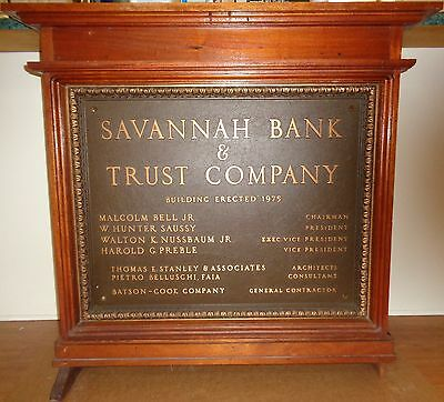 Savannah Bank & Trust Large 1975 Bronze Plaque Historic Building Sign