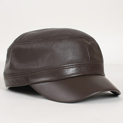 55013206a98 New Genuine Leather Unique Golf Cap Cadet Military Army Cargo Trucker Rider  Hat