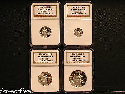 2006 W  Platinum American Eagle 4 Coin- Ngc Pf70Uc  Set-Beautiful Set. Free Ship