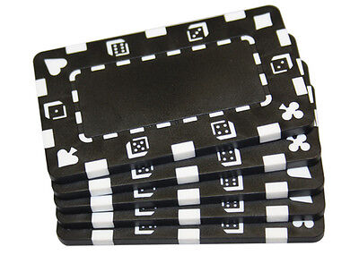 5 pcs Black Rectangular Poker Chips Plaques