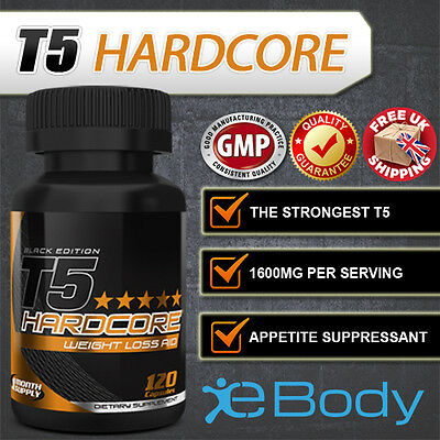 T5 Hardcore® Super Strong Diet Slimming Pills for Fast Weight Loss 120 Capsules
