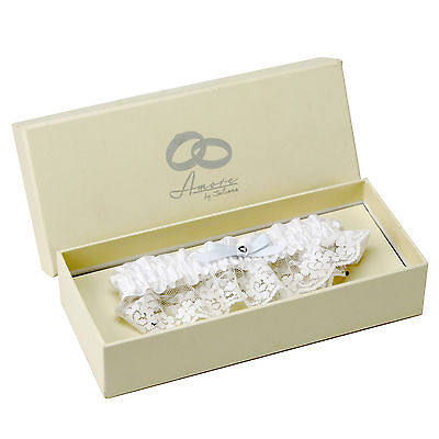 Amore by Juliana White Satin & Lace Wedding garter with Pale Blue Bow