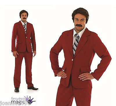 Mens 1970s Newsreader Comedy Film Stag Night Fancy Dress Costume Outfit Red Suit