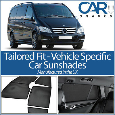 Mercedes Vito 03-14 LWB UV CAR SHADES WINDOW SUN BLINDS PRIVACY GLASS TINT BLACK