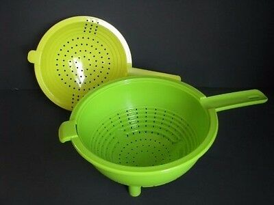 Tupperware Double Colander & Strainer Combo 2-qt - Large Handle Green New