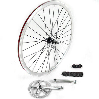 EighthInch Fixed Gear Bike / Single speed Essential Conversion Kit Silver 700c