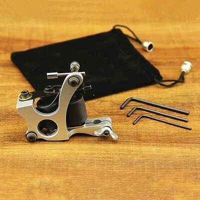 Aluminium Alloy 10 Wrap Coils Tattoo Machine Gun For Liner  Shader Silver