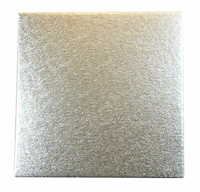 "5 x Square Silver Cake Boards 10"" Wedding, Birthdays"