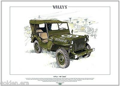 WILLYS MB 'JEEP' - Fine Art Print - A3 size - WWII American US Military Vehicle