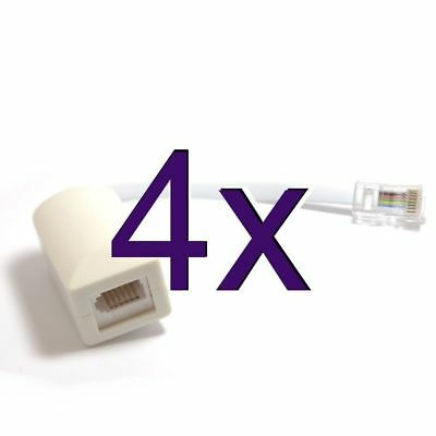 [4 pack] RJ45 to BT Socket Adaptor for Secondary Phone Line [002704]