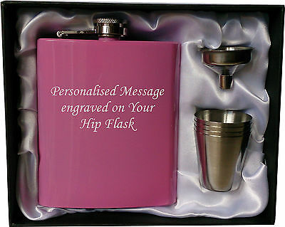 Engraved Steel HIP FLASK pink 7oz in gift box with funnel & 4 shots white liner