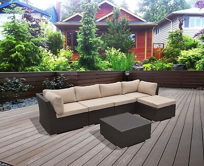 6 PC Modern Rattan Patio Set Outdoor All Weather Sectional Sofa Furniture Wicker