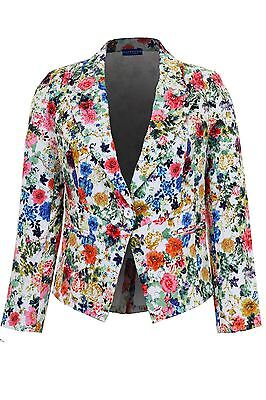 Women's Floral Padded Shoulder One Button Jacket Ladies Fitted Lined Bla