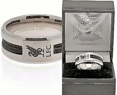 Liverpool Fc Stainless Steel Black Inlay Band Ring Complete In Gift Box Lfc
