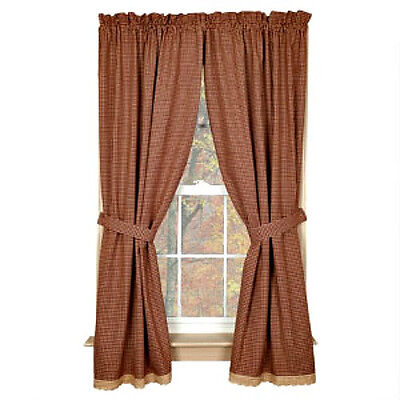 """New Primitive Country 84"""" BURGUNDY TAN  CHECK LACE TRIM Curtain Window Panels"""