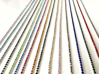 1M Sewing Diamante/Rhinestone Crystal Color Chain Ribbon Silver Base A++ Quality