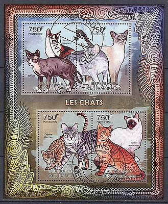 Central African Republic 2012 Domestic Cats Sheet of 4 used
