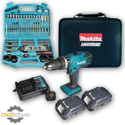 Makita 18v Li-ion Cordless Hammer Combi Drill Complete Kit & Makita 101 Bit Set