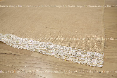 "Burlap Aisle Runner 40""wide x 20-25-30-50ft or custom Lengtht with or w/out lace"